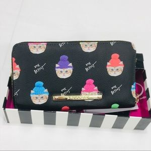NWT Betsey Johnson Cats with Pom Pom Beanie Wallet